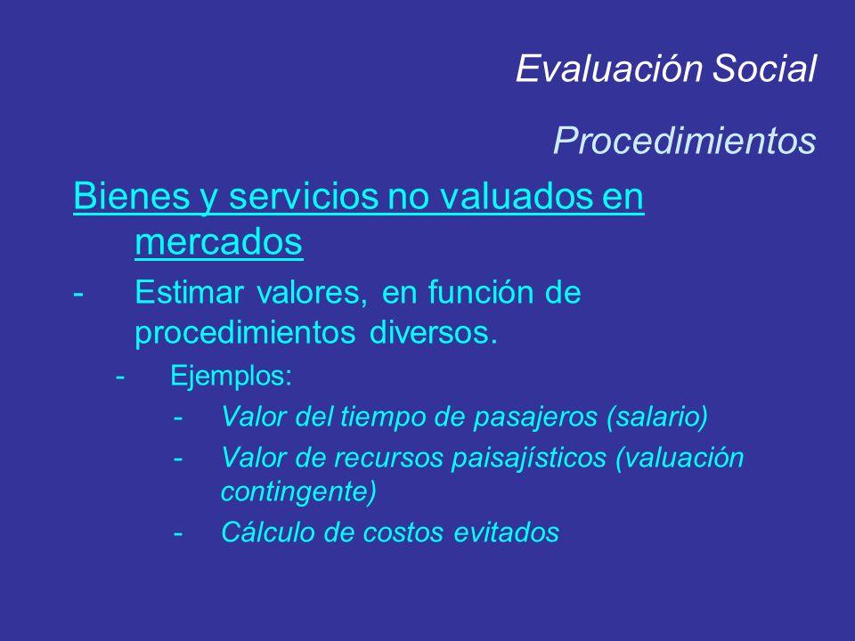 Evaluación Social Procedimientos Bienes y servicios no valuados en mercados -Estimar valores, en función de procedimientos diversos. -Ejemplos: -Valor