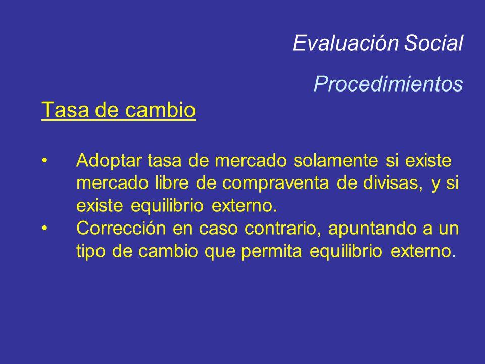 Evaluación Social Procedimientos Tasa de cambio Adoptar tasa de mercado solamente si existe mercado libre de compraventa de divisas, y si existe equil