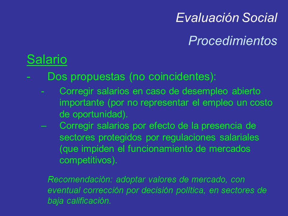Evaluación Social Procedimientos Salario -Dos propuestas (no coincidentes): -Corregir salarios en caso de desempleo abierto importante (por no represe