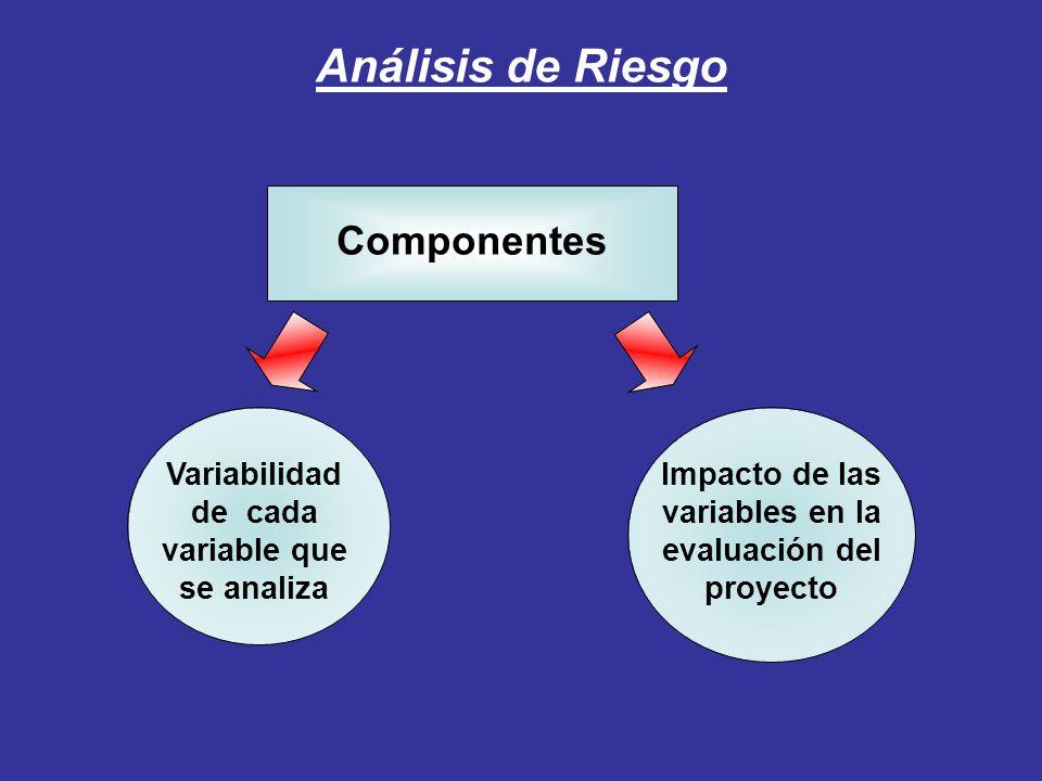 Análisis de Riesgo Componentes Impacto de las variables en la evaluación del proyecto Variabilidad de cada variable que se analiza