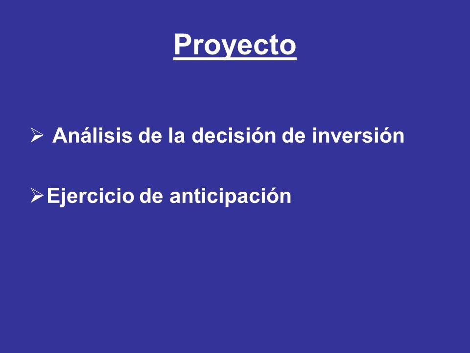 Proyecto Análisis de la decisión de inversión Ejercicio de anticipación