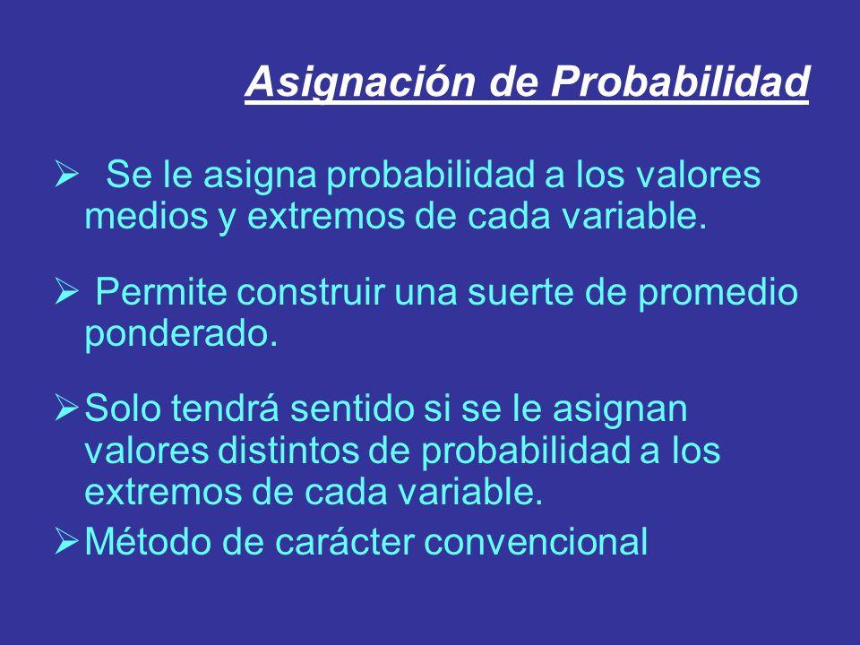 Asignación de Probabilidad Se le asigna probabilidad a los valores medios y extremos de cada variable. Permite construir una suerte de promedio ponder