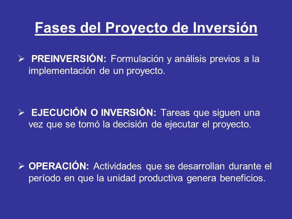 Fases del Proyecto de Inversión PREINVERSIÓN: Formulación y análisis previos a la implementación de un proyecto. EJECUCIÓN O INVERSIÓN: Tareas que sig