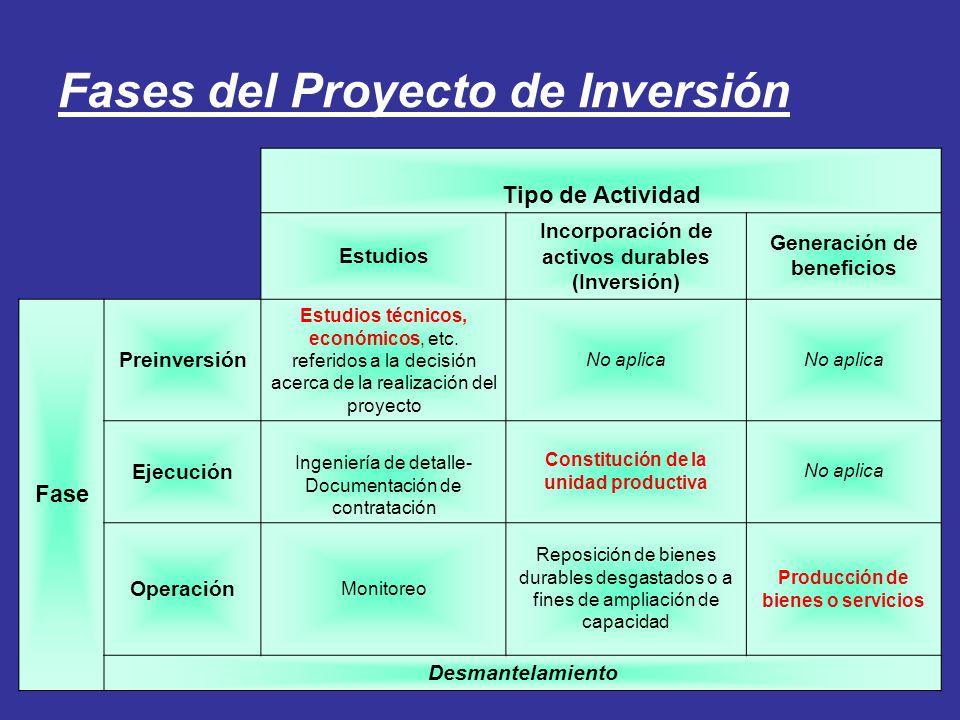 Fases del Proyecto de Inversión Tipo de Actividad Estudios Incorporación de activos durables (Inversión) Generación de beneficios Fase Preinversión Es