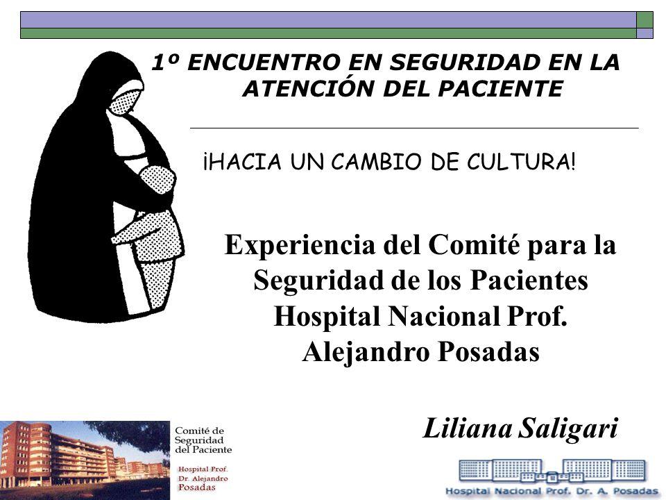 1º ENCUENTRO EN SEGURIDAD EN LA ATENCIÓN DEL PACIENTE ¡HACIA UN CAMBIO DE CULTURA! Experiencia del Comité para la Seguridad de los Pacientes Hospital