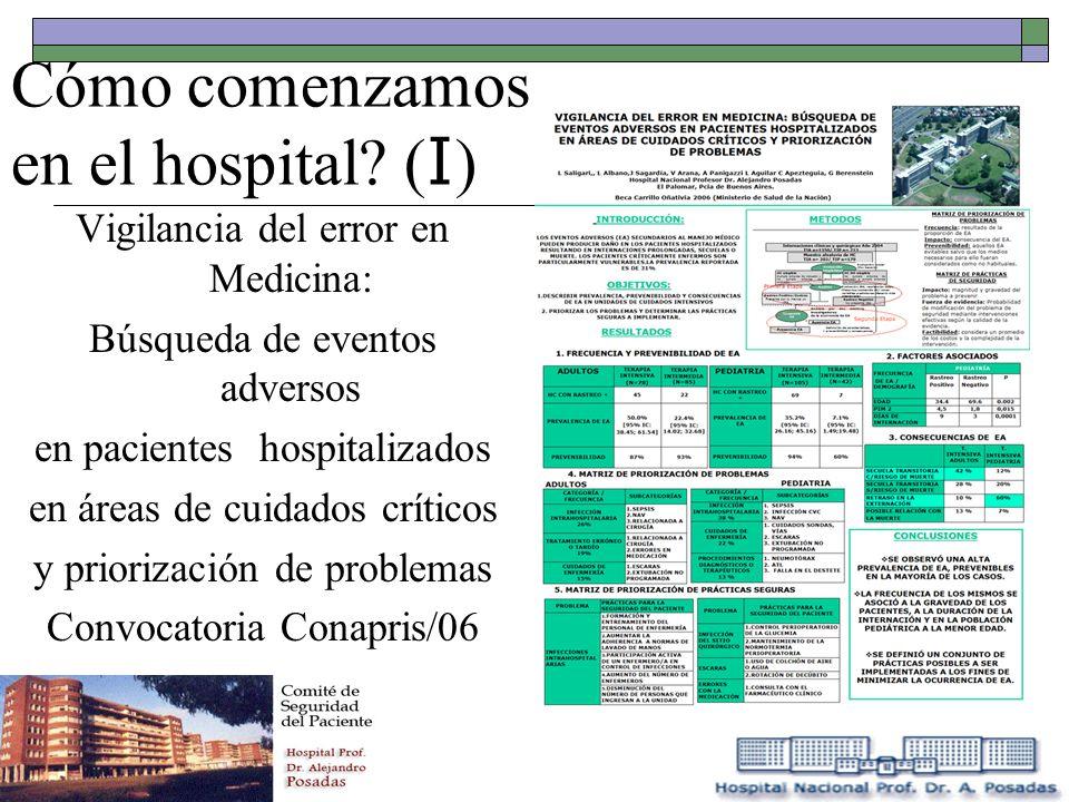 Cómo comenzamos en el hospital? ( I ) Vigilancia del error en Medicina: Búsqueda de eventos adversos en pacientes hospitalizados en áreas de cuidados