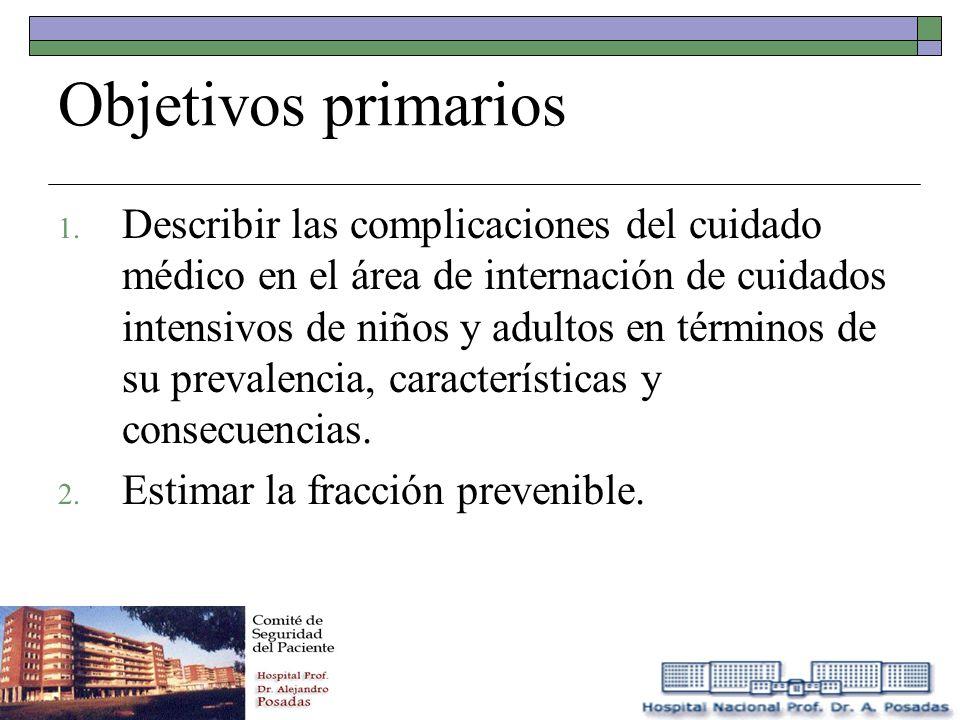 Objetivos primarios 1. Describir las complicaciones del cuidado médico en el área de internación de cuidados intensivos de niños y adultos en términos