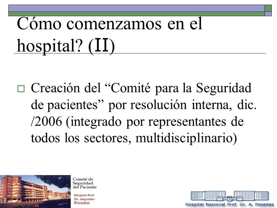 Cómo comenzamos en el hospital? ( II ) Creación del Comité para la Seguridad de pacientes por resolución interna, dic. /2006 (integrado por representa