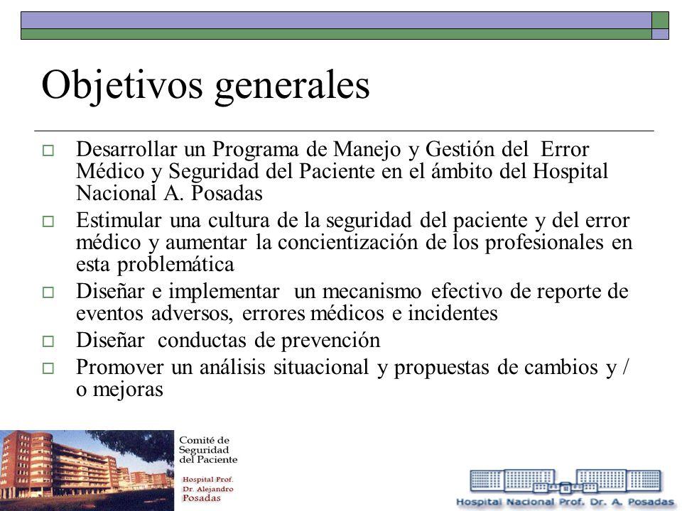 Objetivos generales Desarrollar un Programa de Manejo y Gestión del Error Médico y Seguridad del Paciente en el ámbito del Hospital Nacional A. Posada
