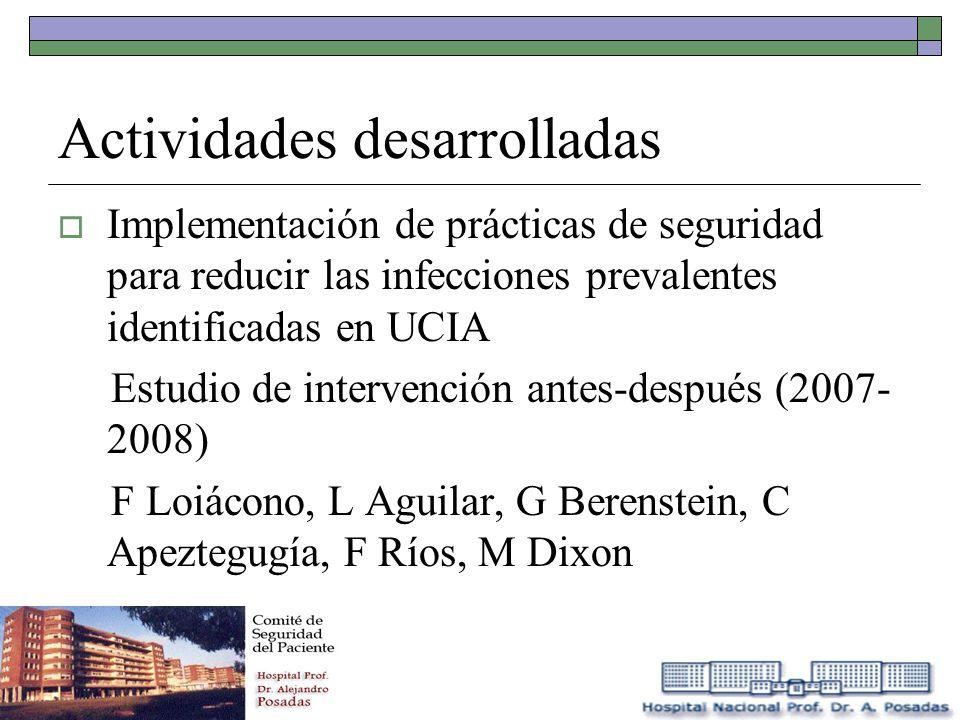 Actividades desarrolladas Implementación de prácticas de seguridad para reducir las infecciones prevalentes identificadas en UCIA Estudio de intervenc