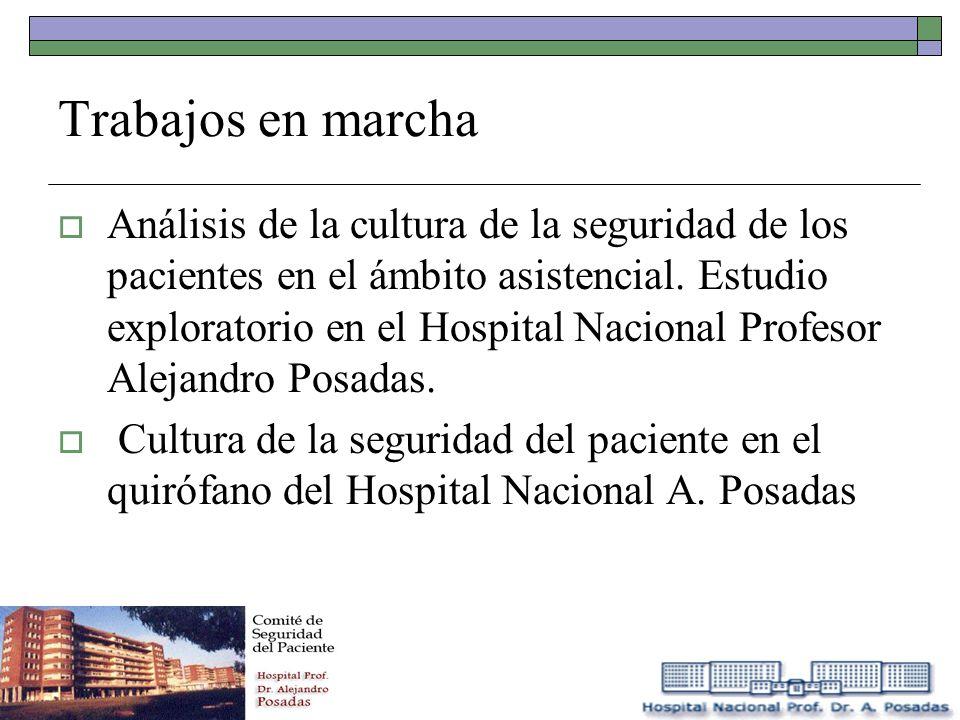 Trabajos en marcha Análisis de la cultura de la seguridad de los pacientes en el ámbito asistencial. Estudio exploratorio en el Hospital Nacional Prof
