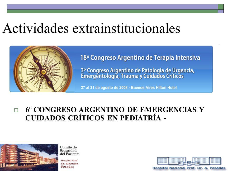 Actividades extrainstitucionales 6º CONGRESO ARGENTINO DE EMERGENCIAS Y CUIDADOS CRÍTICOS EN PEDIATRÍA -