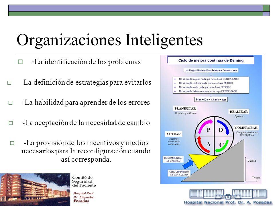 Organizaciones Inteligentes - La identificación de los problemas -La definición de estrategias para evitarlos -La habilidad para aprender de los error