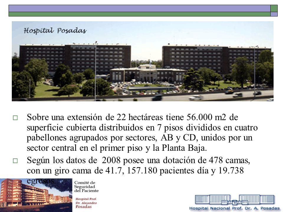 Sobre una extensión de 22 hectáreas tiene 56.000 m2 de superficie cubierta distribuidos en 7 pisos divididos en cuatro pabellones agrupados por sector