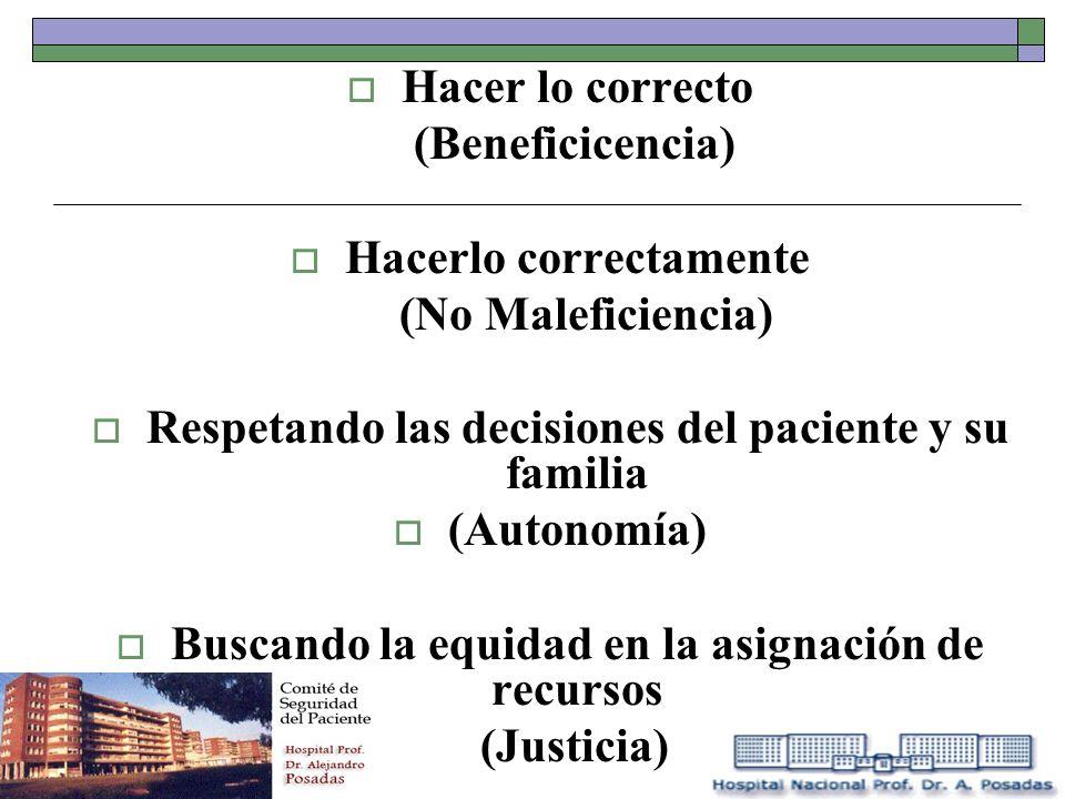 Hacer lo correcto (Beneficicencia) Hacerlo correctamente (No Maleficiencia) Respetando las decisiones del paciente y su familia (Autonomía) Buscando l