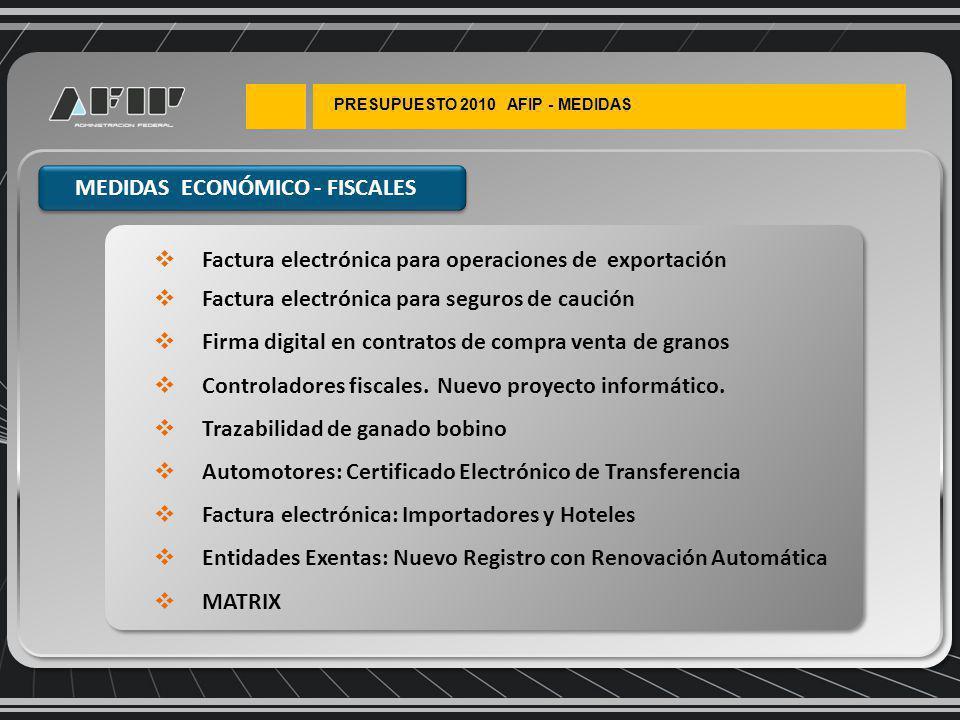 PRESUPUESTO 2010 AFIP - MEDIDAS Factura electrónica para operaciones de exportación Factura electrónica para seguros de caución Firma digital en contratos de compra venta de granos Controladores fiscales.