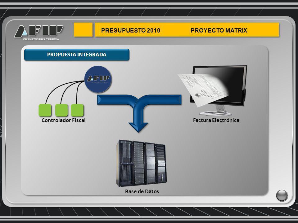 Base de Datos Factura Electrónica Controlador Fiscal PROPUESTA INTEGRADA
