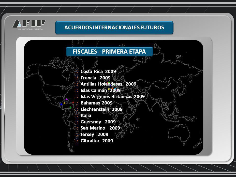 ACUERDOS INTERNACIONALES FUTUROS FISCALES - PRIMERA ETAPA : : Costa Rica 2009 : : Francia 2009 : : Antillas Holandesas 2009 : : Islas Caimán 2009 : : Islas Vírgenes Británicas 2009 : : Bahamas 2009 : : Liechtenstein 2009 : : Italia : : Guersney 2009 : : San Marino 2009 : : Jersey 2009 : : Gibraltar 2009