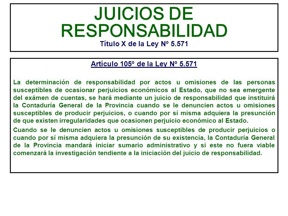 JUICIOS DE RESPONSABILIDAD Título X de la Ley Nº 5.571 Artículo 105º de la Ley Nº 5.571 La determinación de responsabilidad por actos u omisiones de l