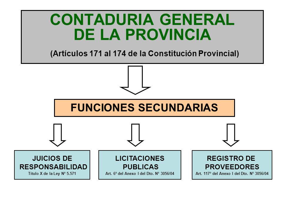 CONTADURIA GENERAL DE LA PROVINCIA (Artículo 84º de la Ley Nº 5.571) La Contaduría General de la Provincia será el órgano rector del sistema de contabilidad gubernamental, y como tal responsable de prescribir, poner en funcionamiento y mantener dicho sistema en todo el ámbito del sector público provincial.