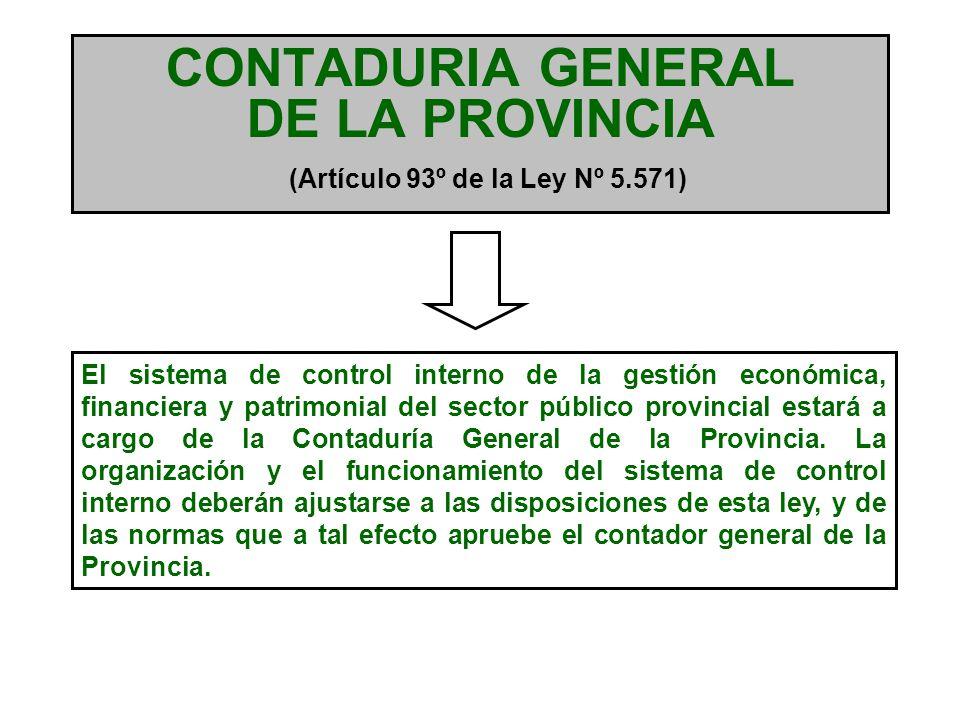 CONTROL INTERNO Artículo 102º de la Ley Nº 5.571 FUNCIONES DE LA CONTADURIA GENERAL DE LA PROVINCIA Dictar y aplicar normas de control interno.