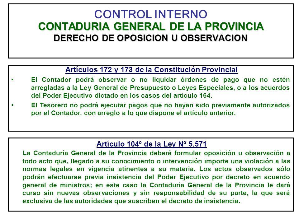 CONTADURIA GENERAL DE LA PROVINCIA DERECHO DE OPOSICION U OBSERVACION CONTROL INTERNO CONTADURIA GENERAL DE LA PROVINCIA DERECHO DE OPOSICION U OBSERV