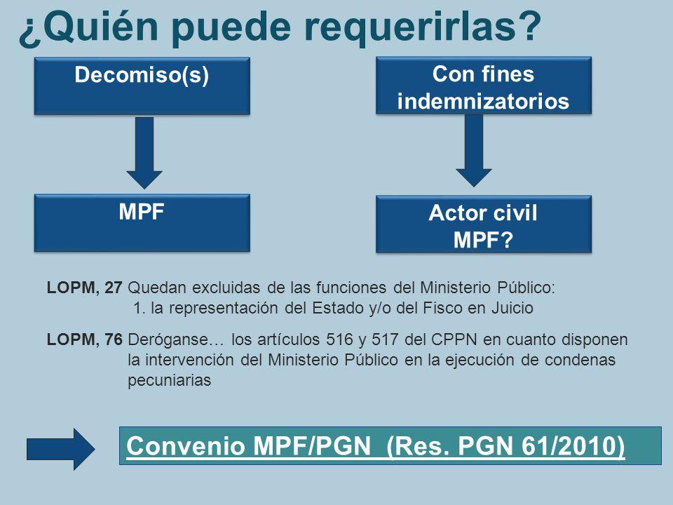 Decomiso(s) Con fines indemnizatorios Actor civil MPF? Actor civil MPF? MPF LOPM, 27 Quedan excluidas de las funciones del Ministerio Público: 1. la r
