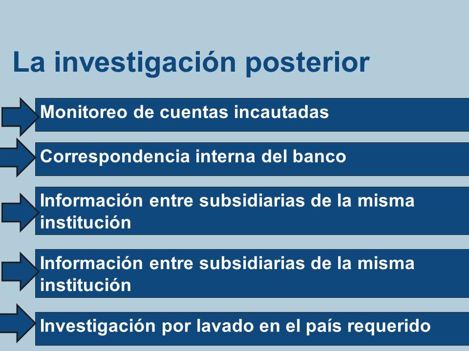 La investigación posterior Monitoreo de cuentas incautadas Correspondencia interna del banco Información entre subsidiarias de la misma institución In
