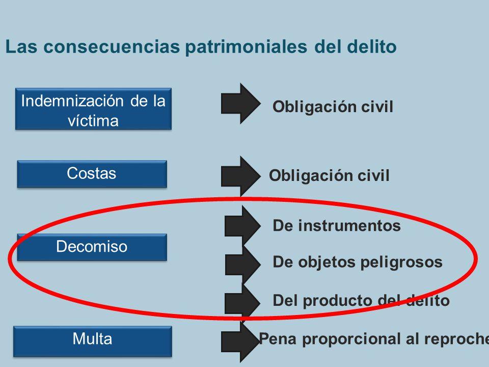 Las consecuencias patrimoniales del delito Indemnización de la víctima Obligación civil Multa Pena proporcional al reproche Decomiso De instrumentos D