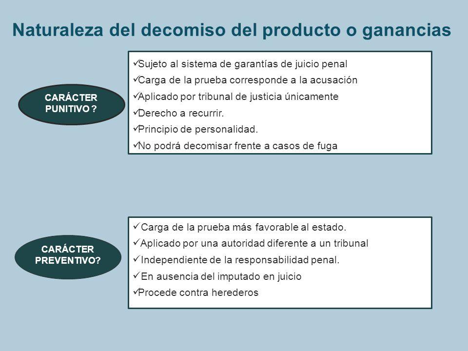 Naturaleza del decomiso del producto o ganancias CARÁCTER PUNITIVO ? CARÁCTER PREVENTIVO? Sujeto al sistema de garantías de juicio penal Carga de la p