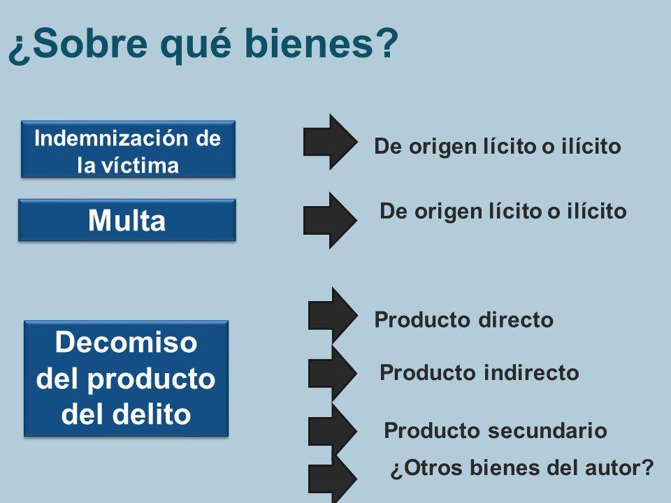 ¿Sobre qué bienes? Indemnización de la víctima Multa Decomiso del producto del delito De origen lícito o ilícito Producto directo Producto indirecto P