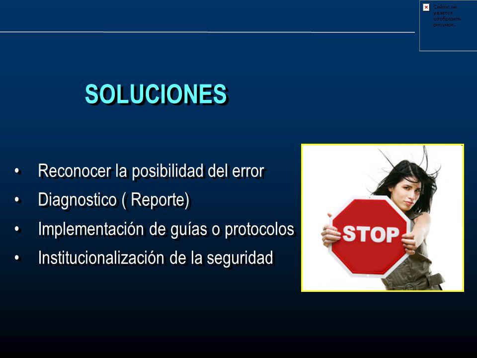 SOLUCIONES Reconocer la posibilidad del error Diagnostico ( Reporte) Implementación de guías o protocolos Institucionalización de la seguridad SOLUCIO