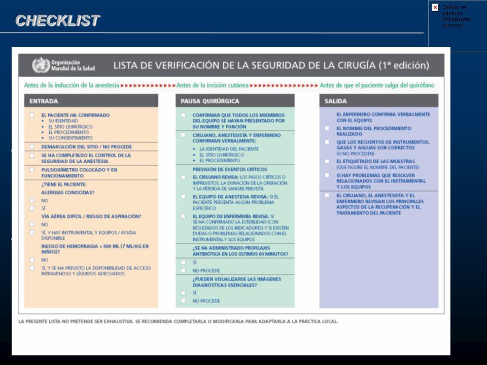 CHECKLIST Evaluación de riesgos Evaluación en terrreno Del medio Del equipo Denuncia de incidentes Evaluación de riesgos Evaluación en terrreno Del me