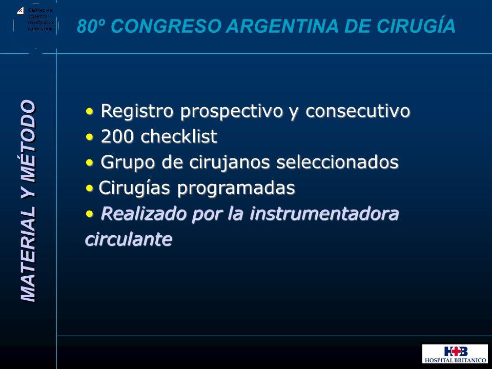 MATERIAL Y MÉTODO 80º CONGRESO ARGENTINA DE CIRUGÍA Registro prospectivo y consecutivo Registro prospectivo y consecutivo 200 checklist 200 checklist