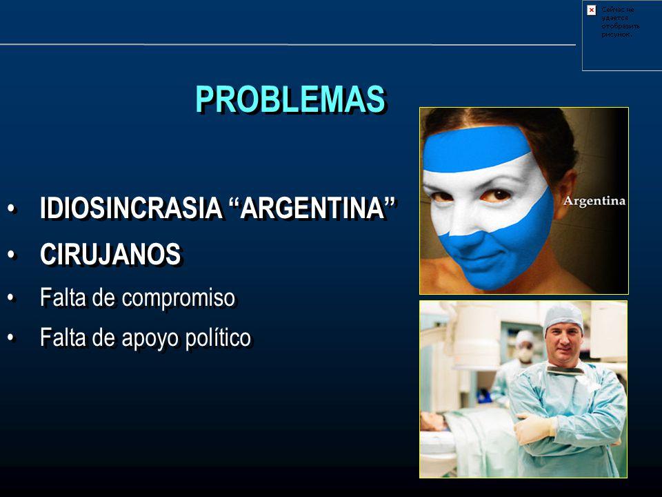 PROBLEMAS IDIOSINCRASIA ARGENTINA CIRUJANOS Falta de compromiso Falta de apoyo político PROBLEMAS IDIOSINCRASIA ARGENTINA CIRUJANOS Falta de compromis