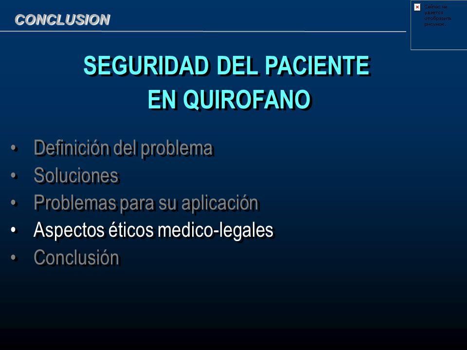 CONCLUSION SEGURIDAD DEL PACIENTE EN QUIROFANO Definición del problema Soluciones Problemas para su aplicación Aspectos éticos medico-legales Conclusi