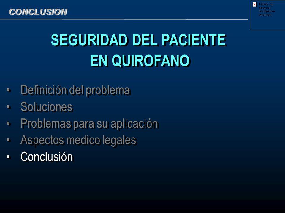 CONCLUSION SEGURIDAD DEL PACIENTE EN QUIROFANO Definición del problema Soluciones Problemas para su aplicación Aspectos medico legales Conclusión SEGU