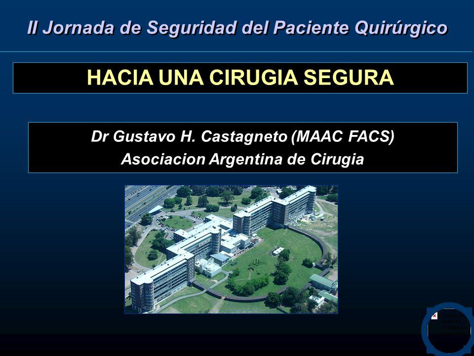 HACIA UNA CIRUGIA SEGURA Dr Gustavo H. Castagneto (MAAC FACS) Asociacion Argentina de Cirugia II Jornada de Seguridad del Paciente Quirúrgico