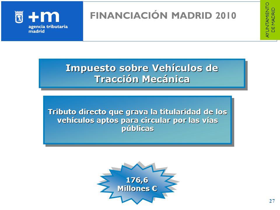 27 Impuesto sobre Vehículos de Tracción Mecánica Tributo directo que grava la titularidad de los vehículos aptos para circular por las vías públicas 1