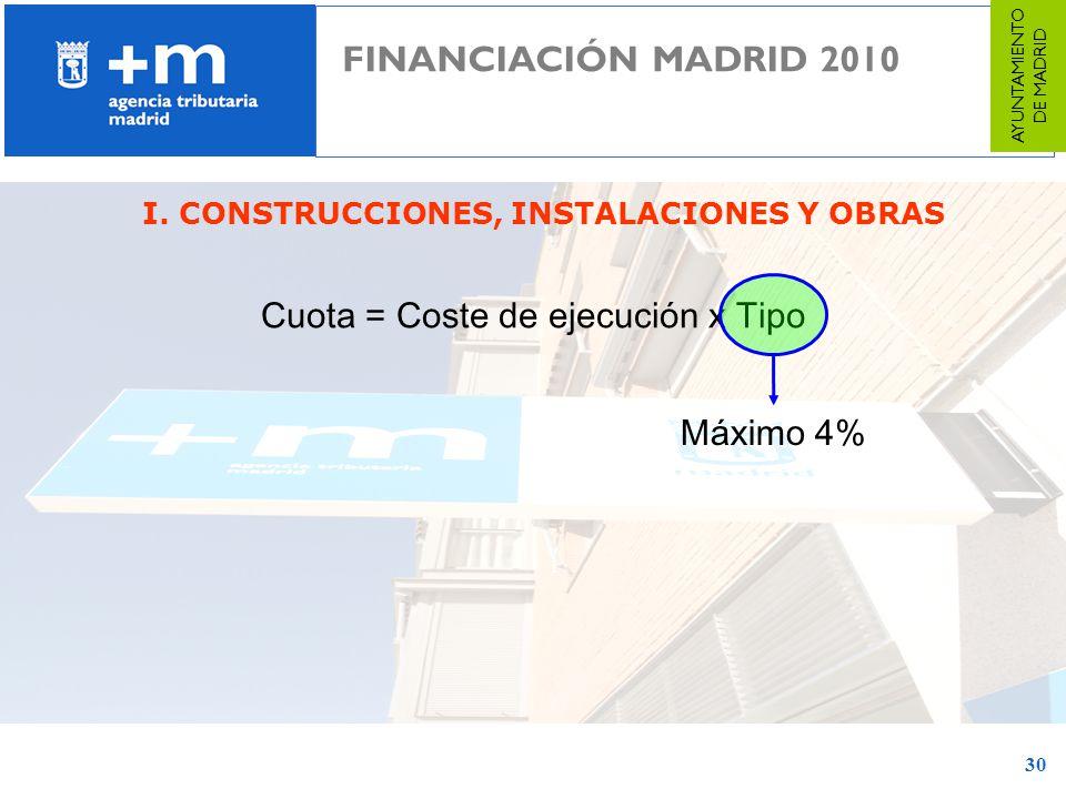 30 I. CONSTRUCCIONES, INSTALACIONES Y OBRAS Cuota = Coste de ejecución x Tipo Máximo 4% FINANCIACIÓN MADRID 2010 AYUNTAMIENTO DE MADRID
