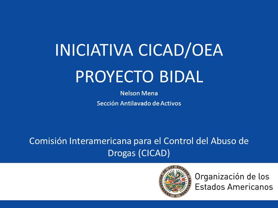 Comisión Interamericana para el Control del Abuso de Drogas (CICAD) INICIATIVA CICAD/OEA PROYECTO BIDAL Nelson Mena Sección Antilavado de Activos