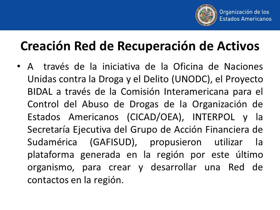 Creación Red de Recuperación de Activos A través de la iniciativa de la Oficina de Naciones Unidas contra la Droga y el Delito (UNODC), el Proyecto BIDAL a través de la Comisión Interamericana para el Control del Abuso de Drogas de la Organización de Estados Americanos (CICAD/OEA), INTERPOL y la Secretaría Ejecutiva del Grupo de Acción Financiera de Sudamérica (GAFISUD), propusieron utilizar la plataforma generada en la región por este último organismo, para crear y desarrollar una Red de contactos en la región.