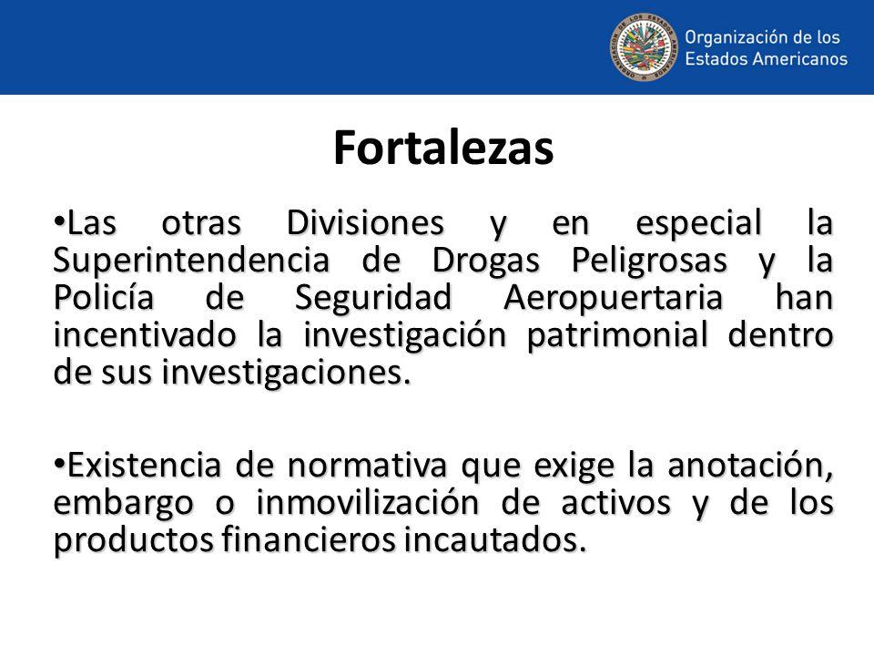 Fortalezas Las otras Divisiones y en especial la Superintendencia de Drogas Peligrosas y la Policía de Seguridad Aeropuertaria han incentivado la investigación patrimonial dentro de sus investigaciones.
