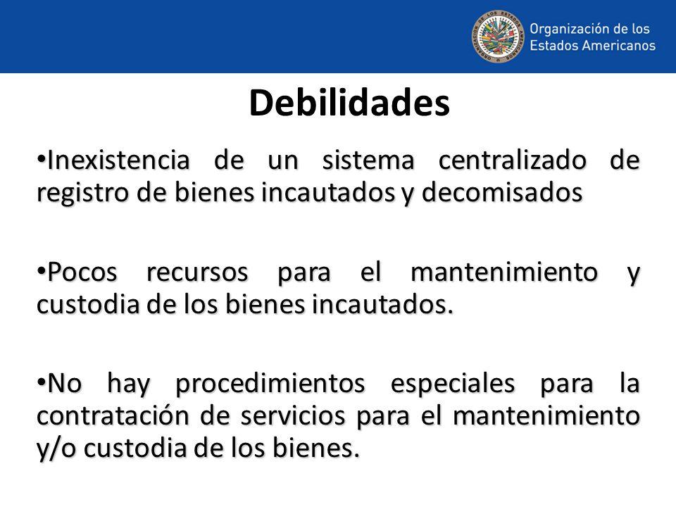 Debilidades Inexistencia de un sistema centralizado de registro de bienes incautados y decomisados Inexistencia de un sistema centralizado de registro de bienes incautados y decomisados Pocos recursos para el mantenimiento y custodia de los bienes incautados.