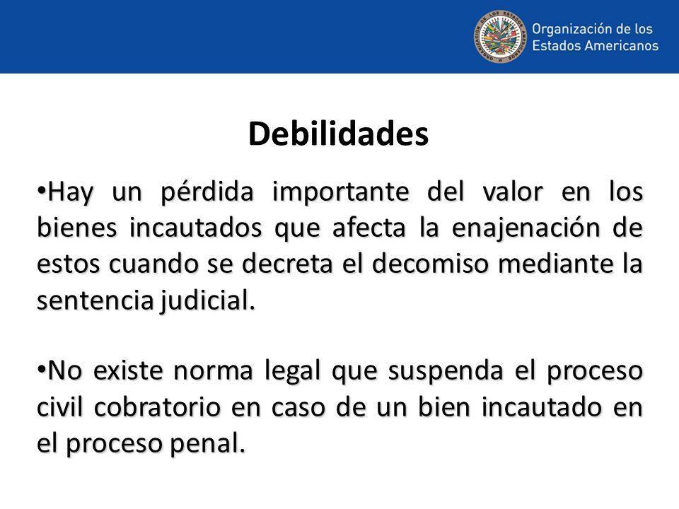 Debilidades Hay un pérdida importante del valor en los bienes incautados que afecta la enajenación de estos cuando se decreta el decomiso mediante la sentencia judicial.