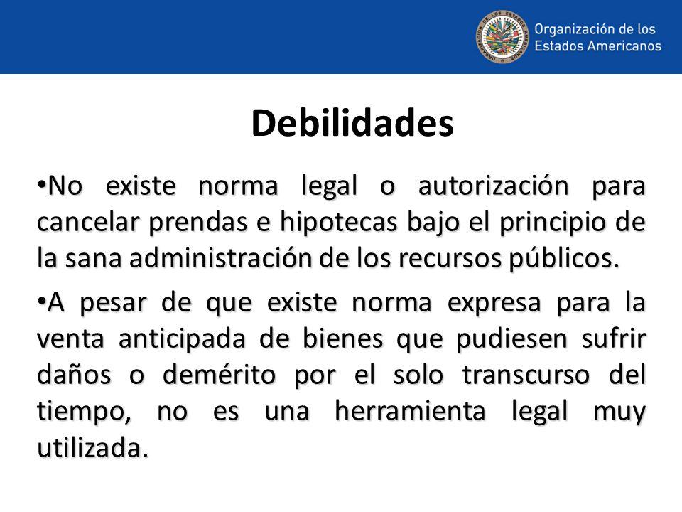 Debilidades No existe norma legal o autorización para cancelar prendas e hipotecas bajo el principio de la sana administración de los recursos públicos.