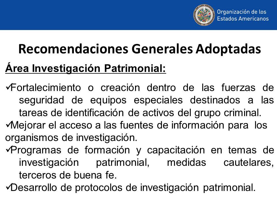 Recomendaciones Generales Adoptadas Área Investigación Patrimonial: Fortalecimiento o creación dentro de las fuerzas de seguridad de equipos especiales destinados a las tareas de identificación de activos del grupo criminal.