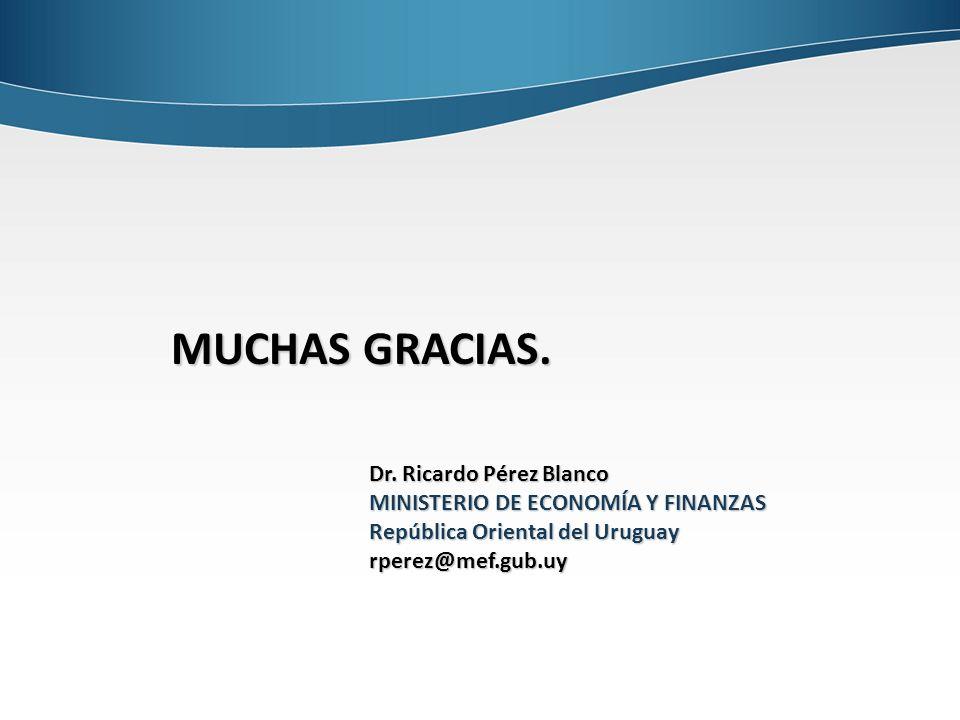 Dr. Ricardo Pérez Blanco MINISTERIO DE ECONOMÍA Y FINANZAS República Oriental del Uruguay rperez@mef.gub.uy MUCHAS GRACIAS.