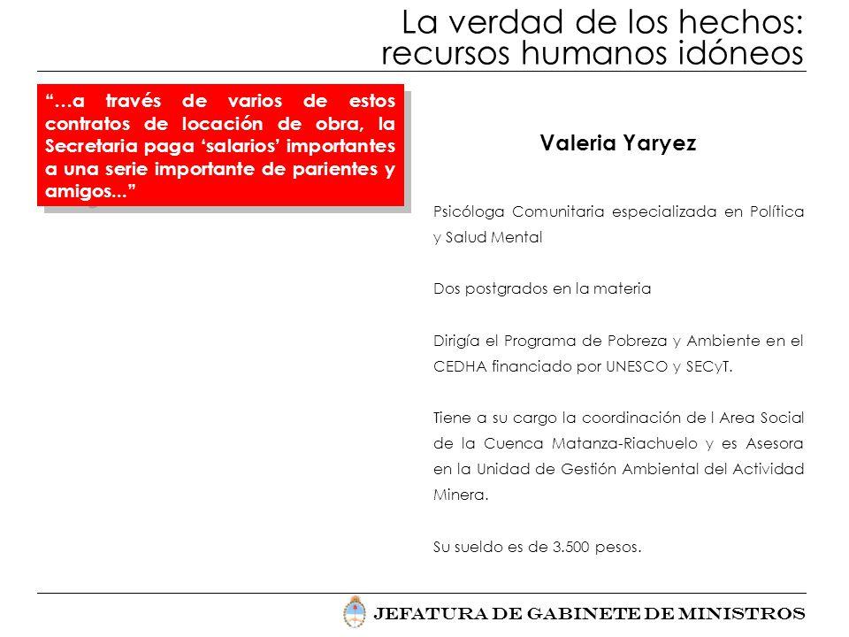 Jefatura de Gabinete de Ministros La verdad de los hechos: recursos humanos idóneos Valeria Yaryez Psicóloga Comunitaria especializada en Política y S
