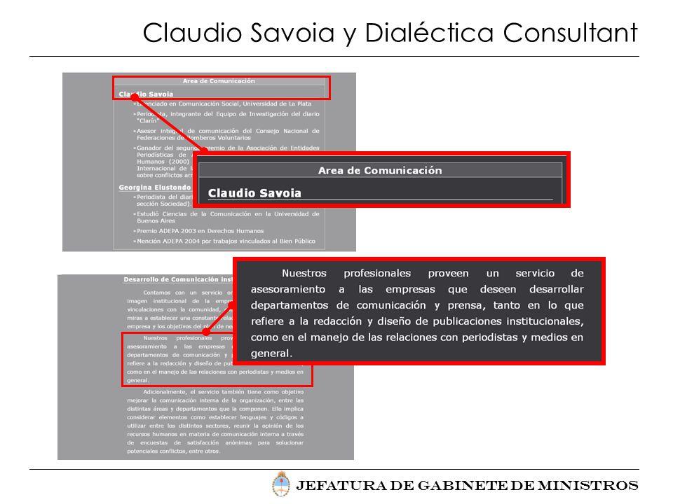 Jefatura de Gabinete de Ministros Claudio Savoia y Dialéctica Consultant